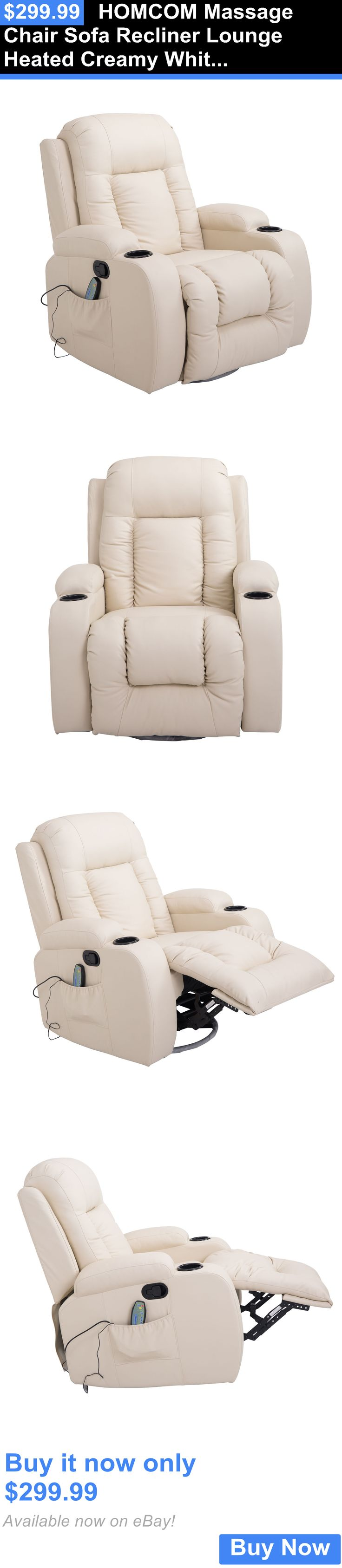 Electric Massage Chairs: Homcom Massage Chair Sofa Recliner Lounge Heated Creamy White Deluxe Armchair BUY IT NOW ONLY: $299.99