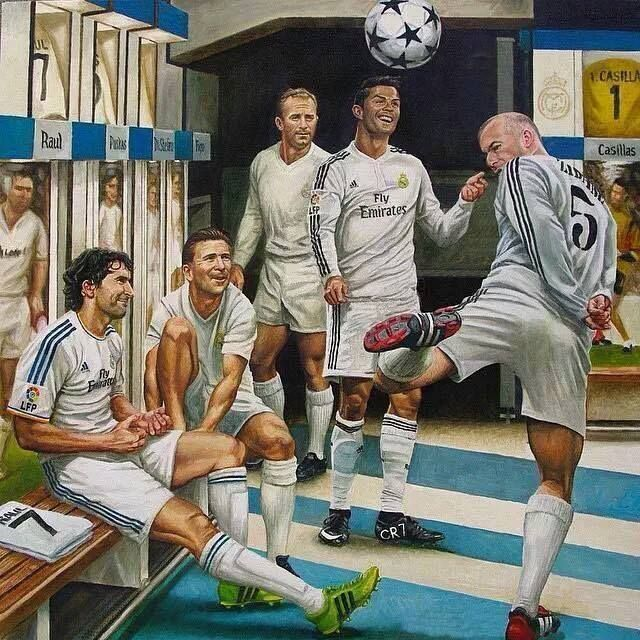 Raul, Ferenc Puskas, Alfredo di Stefano, Cristiano Ronaldo, Zinedine Zidane. Legends of Real Madrid