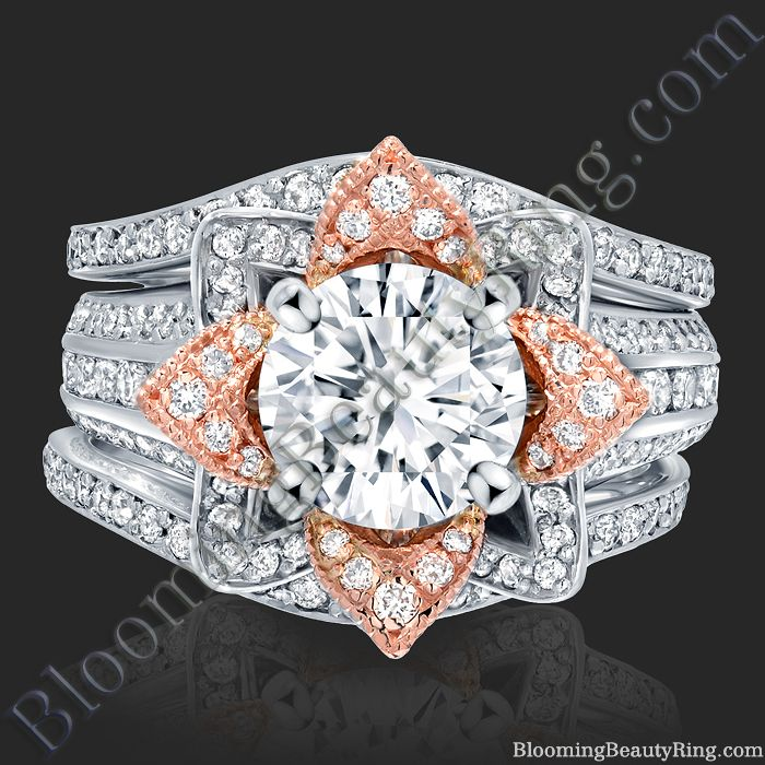 2.38 ctw. Double Band Flower Ring Set
