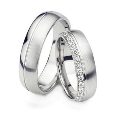 His Hers Mens Womens Matching White Gold Wedding Bands Rings Set Wide Sizes Free Engraving New