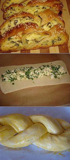 Коса из слоеного теста с сыром и зеленью | Банк кулинарных рецептов