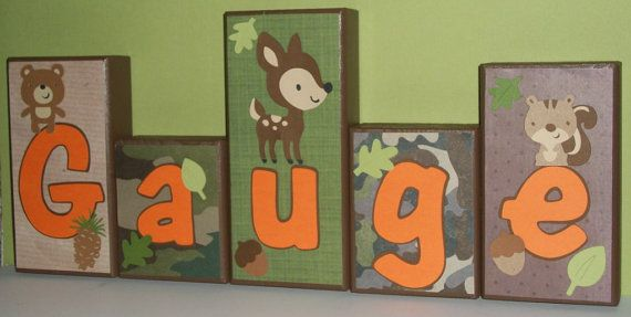 Personalized Wood Blocks  Camo / Forest Friends / by KissedByKimmy, $6.00 - make it