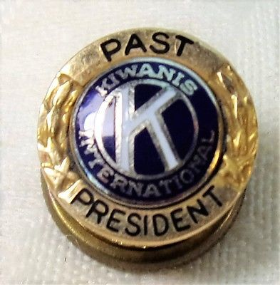 Vintage Past President Kiwanis International 14K Gold Enamel Lapel Pin Leavens