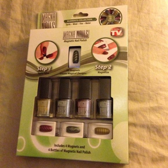Magna Nails  Magnetic Nail Polish  Includes 4 Magnets and 4 Bottles of Nail Polish  3D Magnets create magical designs  Two easy steps  Accessories