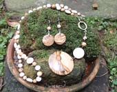 Goddess Tigers Eye - Citrine - Freshwater Pearl - Swarovski - Vintage Crystal Pendant & Earring Set.. $45.00, via Etsy.