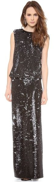 $595, Black Sequin Evening Dress: Rachel Zoe Colette Sequin Gown. Sold by shopbop.com. Click for more info: http://lookastic.com/women/shop_items/20946/redirect