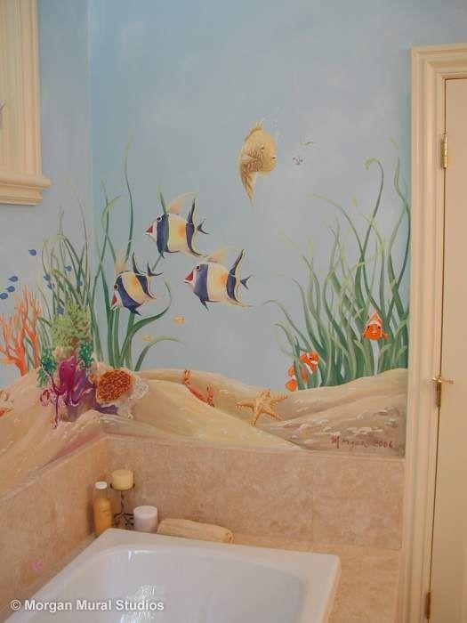 Ocean Floor Mural Fish Great For Kids Room Bathroom Or Laundry Room