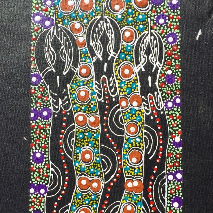 One of 3 paintings done by Katrina Rubuntja , depicting the story of 3 sisters and their journey through the stars in the dreamtime