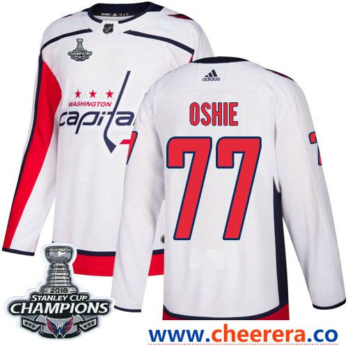 6470b708a77 Adidas Washington Capitals  77 T.J. Oshie White Road Authentic Stanley Cup  Final Champions Stitched NHL Jersey