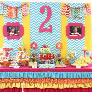 Chevron Sesame Street Birthday Party. I like the color scheme of pastel colors