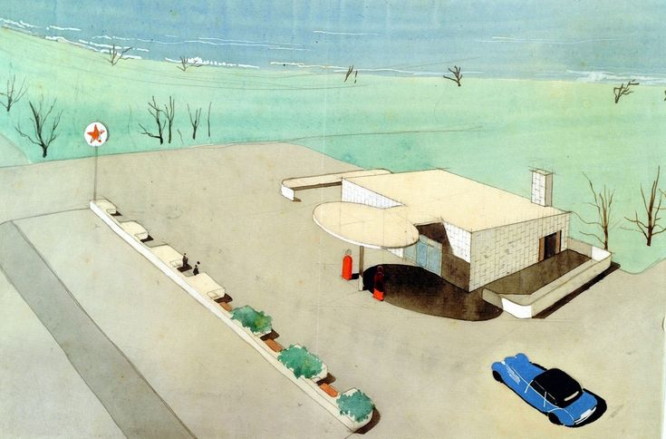 Arne Jacobsen, Texaco Skovshoved Petrol Station, near Copenhagen, Denmark. Designed in 1936, drawing by Jacobsen.