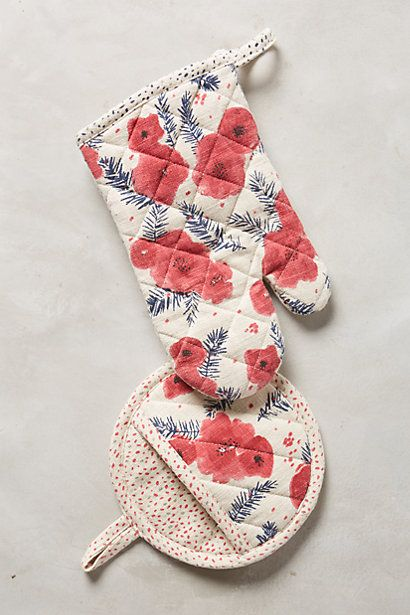 Gift Ideas for Relatives: Pretty floral poinsettia potholders from Anthropologie
