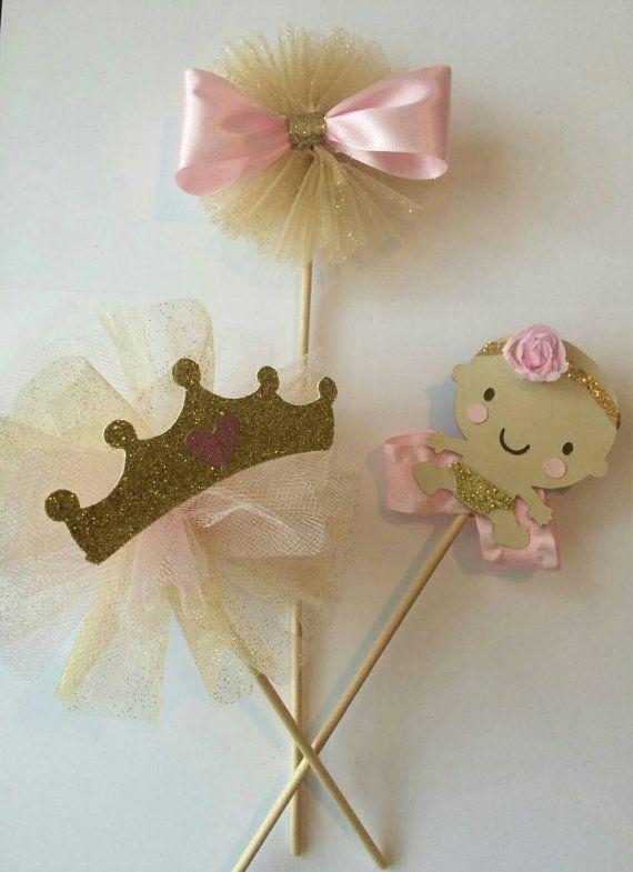 Rosa bebé oro ducha pieza central de la tiara de la princesa corona tema princesa centro de mesa niña centro de mesa