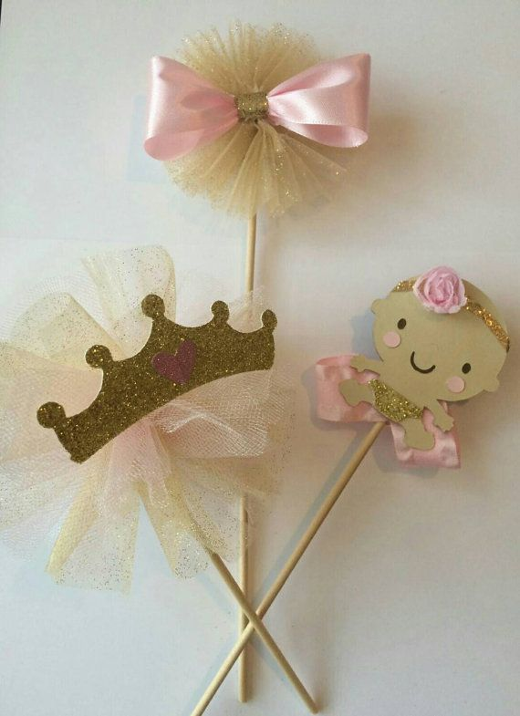 Pink gold baby shower centerpiece princess by fourDOLLYSboutique