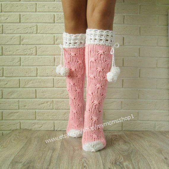 Pink socks. Lace knit socks womens, socks with pompons, woman leg warmers, Hand knit knee socks. Wool socks.