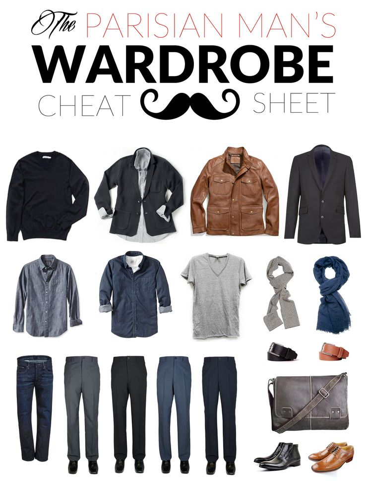 Start with an un-ironed neutral shirt (a button-down or a cotton Tee will both do) and a sweater (v-neck or button-down). Pair it with a suit jacket (perfectly tailored) or a brown leather jacket that fits like a glove. Add a great-fitting pair of slacks or dark-wash jeans with a classic brown or black belt. Finish the look with leather pointed shoes and a European-looped scarf for a ultra-Parisian look.