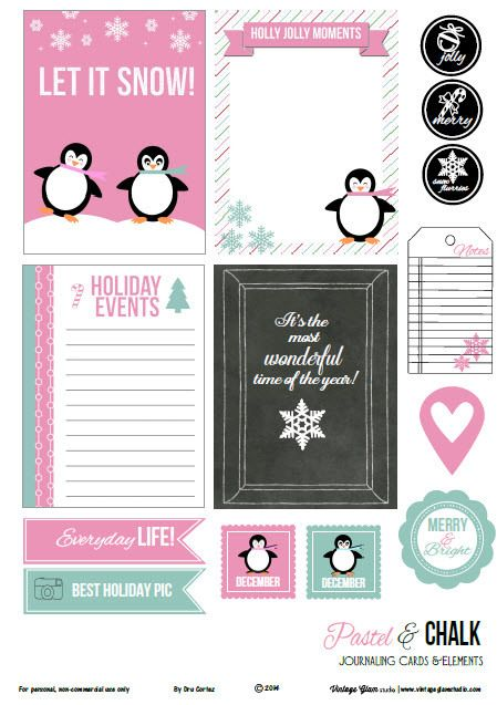 Vintage Glam Studio | Pastel and Chalk Journaling Cards   Free Printable Download