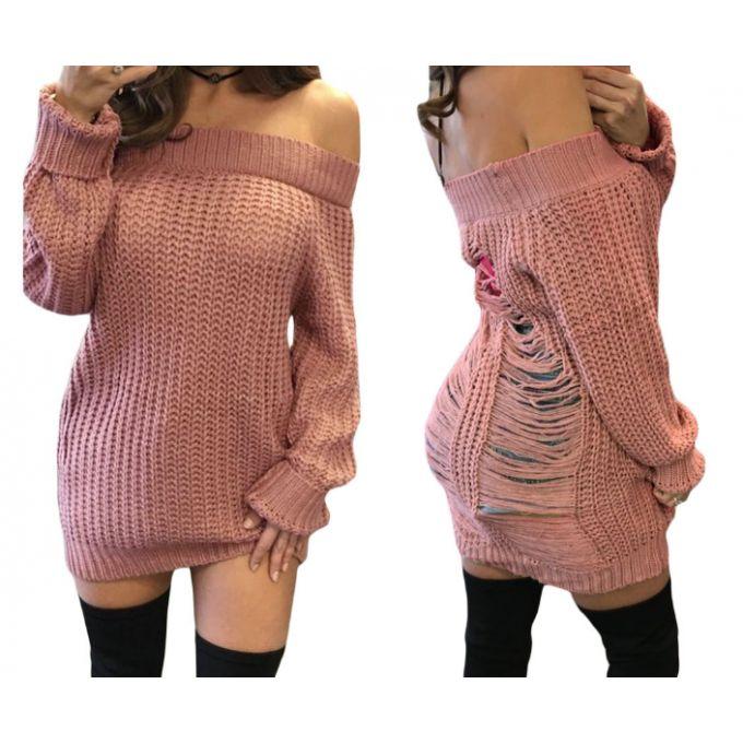 Pull tricot épaules dénudées & déchiré dans le dos - bestyle29.com