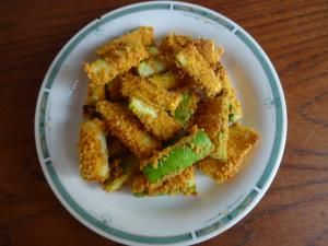 Phase 1 Zucchini Fries -- oven-baked with no oil. Spiced-up breadcrumbs make them crunchy (you can just grind up sprouted-grain bread in the food processor).