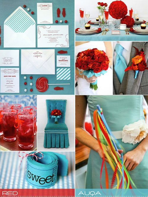 Red and Aqua wedding theme