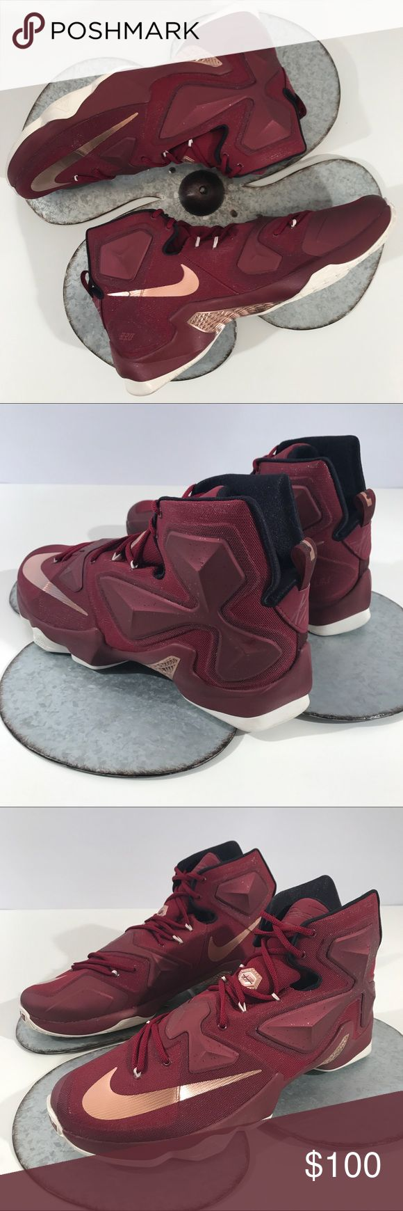 New Nike Lebron XIII 13 Shoes 'Cavaliers' Team Nike Lebron XIII basketball shoes size  Size: 16 US, EUR 50.5, 15 UK  •Mesh •Rubber sole •Flywire cables extend from midfoot to wrap around your heel for lockdown •Zoom L.E.A.P. system enhances propulsion and responsiveness •Four independent Zoom Air units on the forefoot for low-profile, flexible, and responsive cushioning •Two Zoom Air units located under the heel and first met head are 13mm thick for response Nike Shoes…