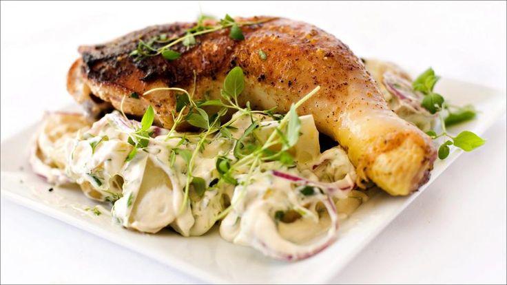 Grillet kyllinglår med hjemmelaget potetsalat