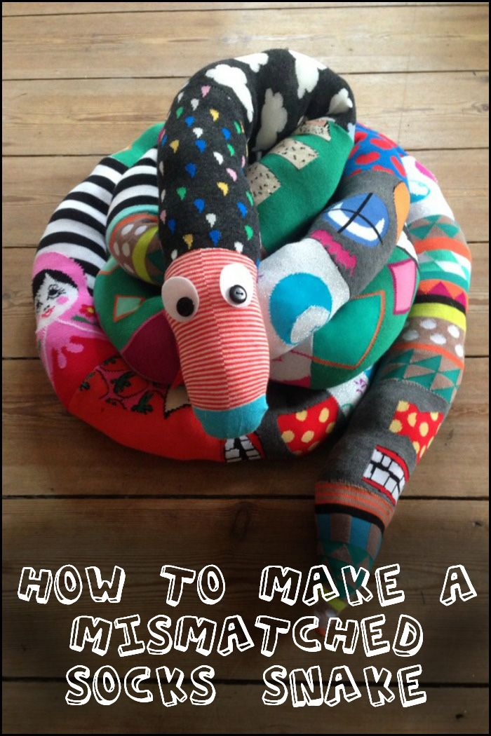 Got a collection of socks with missing partners? Why not make a cute sock snake out of them!