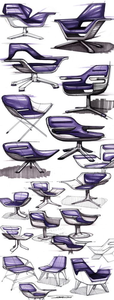 SKETCHBOOK -- really shows the evolution of design ideas in creating these mid-century chairs. Great sketches...