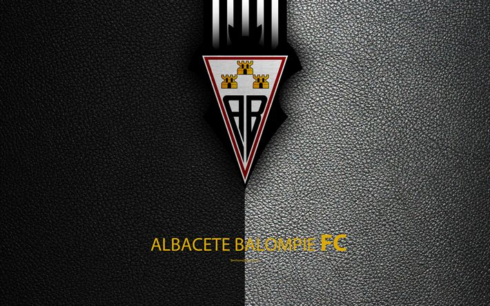 Download wallpapers Albacete Balompie FC, 4K, Spanish Football Club, leather texture, logo, LaLiga2, Segunda Division, Albacete, Spain, Second Division, football