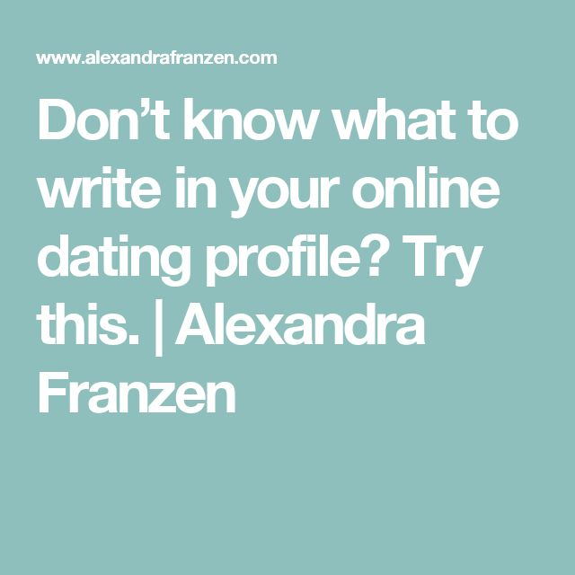Write profile online dating