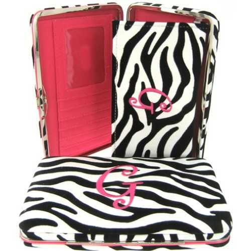 "Hot Pink Initial "" G "" Zebra Print Soft Velvet Stripes Thick 1"" Flat Wallet"