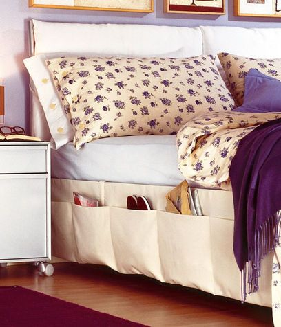Functional bed skirt, never lose the remote again! Good place to keep slippers off the floor too.