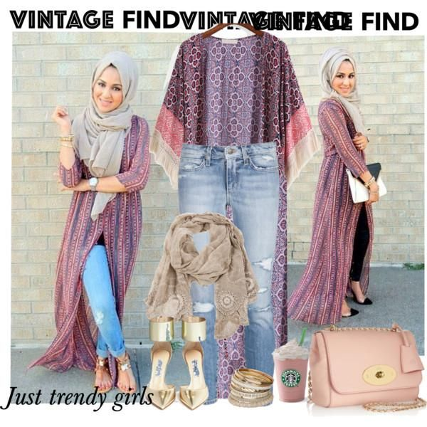 long kimono  with jeans outfit, Long kimono cardigan hijab style http://www.justtrendygirls.com/long-kimono-cardigan-hijab-style/
