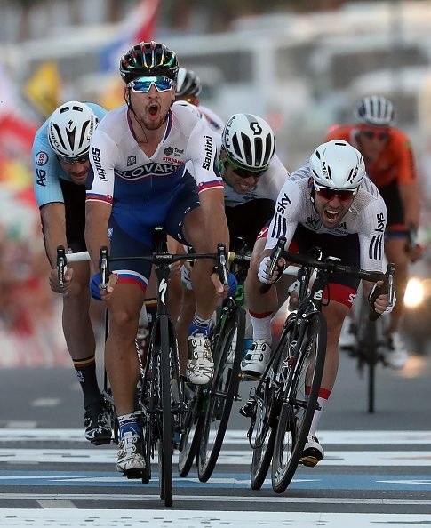 Peter Sagan comes in first during the men's elite road race World Championships 2016 / Mohamed Farag /Anadolu Agency/Getty images
