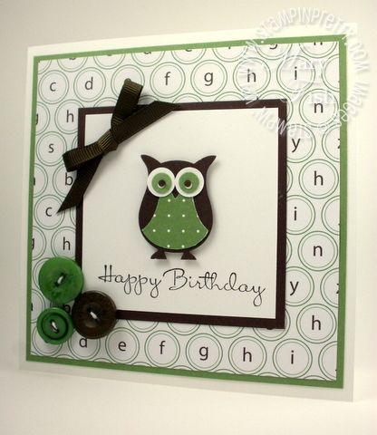 Stampin Up: Owl Builder Punch. Square card