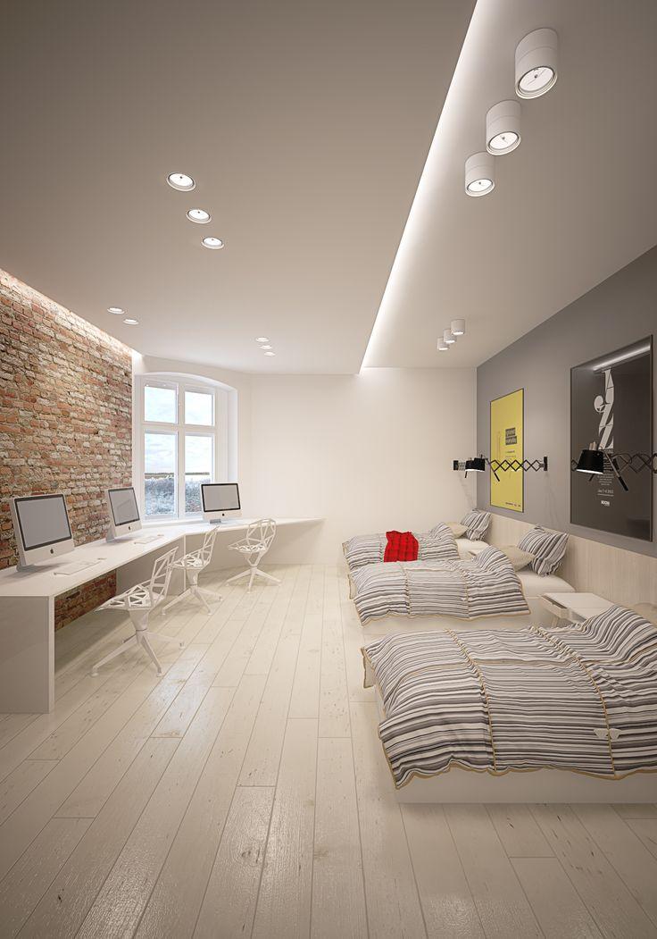 Bedroom design in Gliwice, POLAND - archi group. Sypialnia - pokój 3 osobowy w mieszkaniu w Gliwicach.