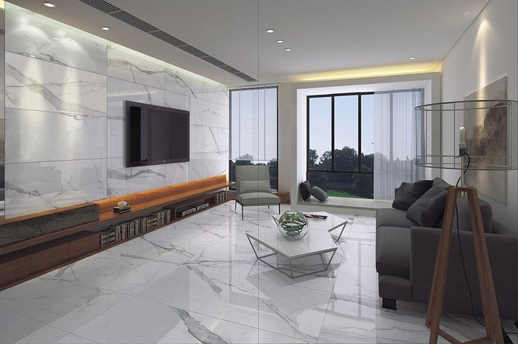 Beautiful Marble Effect Ultra Thin Porcelain Tiles Used As A Living Room Floor In A Stylish Property Living Room Tiles Tile Floor Living Room White Tile Floor #white #floor #tile #living #room