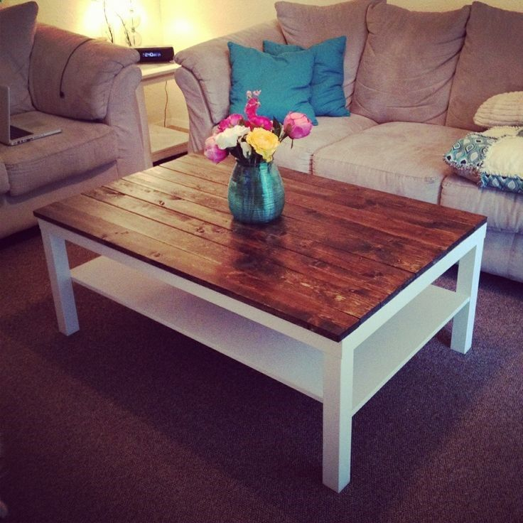 This is a cool Ikea hack: buy one of the plain, cheap Lack coffee tables and secure stained cedar planks to the top. Awesome coffee table for living room. Could do with smaller end tables as well.