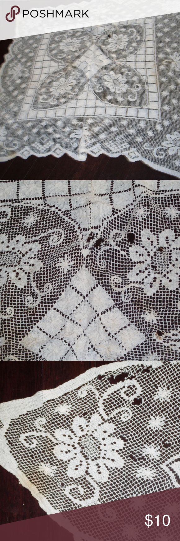 """VTG 1930's Handmade Netting Tablecloth measures 48"""" x 48"""".  there are some holes and a few spots.    easy fixes.  swag this as a curtain in your bath or dressing room.  table cover or cut it up for projects.  being sold """"as is"""" handmade Other"""