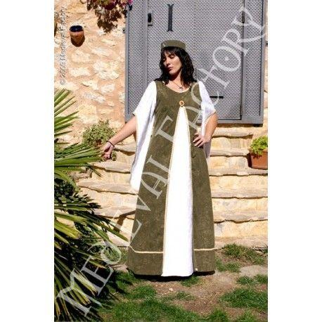 Vestido medieval de mujer modelo Zar con broche. En antelina con mangas y parte central en brocado.  INCLUYE Limosnera Tocado Broche NO INCLUYE Velo