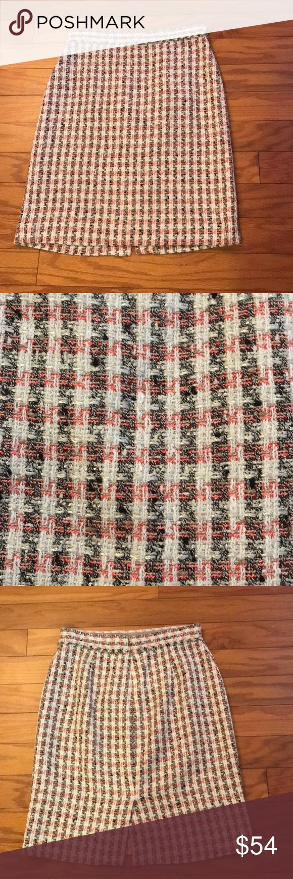 """J. Crew Collection Plaid Skirt J. Crew Collection Plaid Skirt. Size 4. Colors include white, black, tan, and bright salmon pink. 51% cotton. 24% viscose. 10% acrylic. 6% polyester. 6% polyamide. 3% other fiber. Lining: 100% acetate. Approx. 22 inches in length. Waist 14"""" across. Zipper back. Very little stretch in waist and body. J. Crew Skirts"""