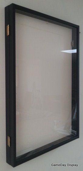 JERSEY Display Case Frame Shadow Box Football Hockey Baseball White Wood with Door