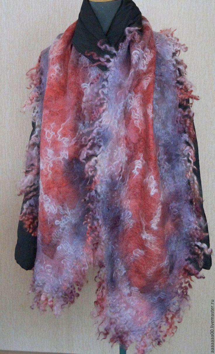 """Купить Валяный шарф """"Разноцветный"""" - разноцветный, абстрактный, валяный шарф, женский шарф, шарф из войлока"""