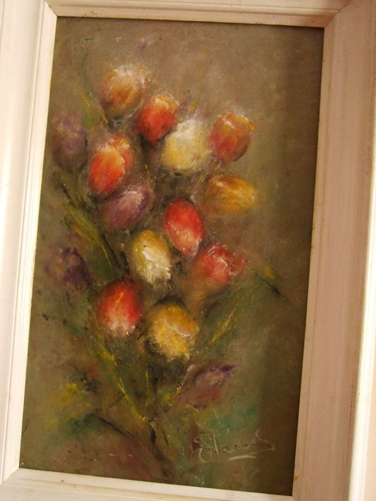 flowers, tulips  oil painting on canvas (60/40) -to sale