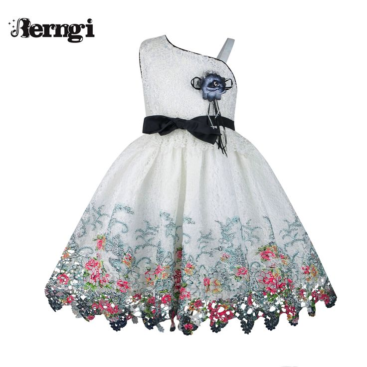 Berngi Girl Summer Dress 2017 New Style Black Floral suspenders Girl Flower Wedding Party Kids Clothes for 3-10 yrs(China (Mainland))