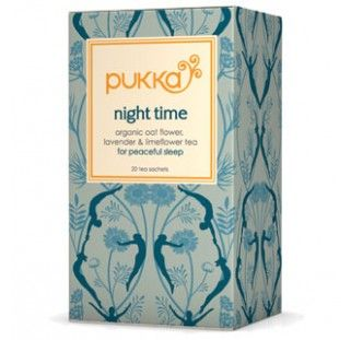 Night Time tea is a unique blend of soothing herbs to help you unwind. Drink it in the evening to prepare you for a deep, restful sleep and a more refreshed awakening. www.pukkaherbs.com