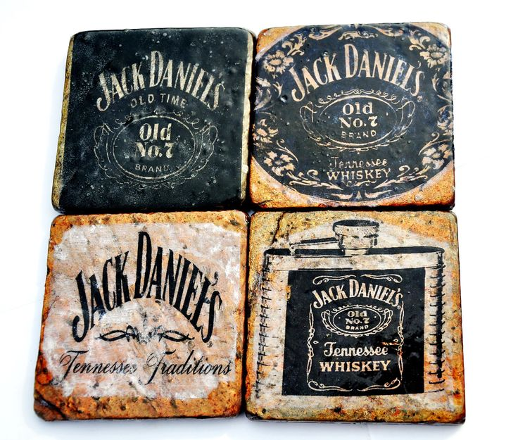 SALE Set of 4 Jack Daniels Copper Slate by TheRustiqueEdge on Etsy, $20.00