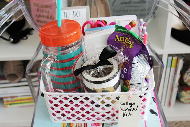 College Survival Kit Gift Basket DIY via of life and style