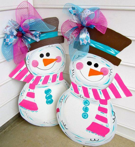 Wooden+Snowman+for+your+front+door++wooden+door+by+paintchic,+$46.00