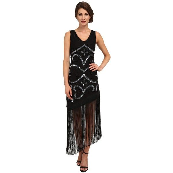 Unique Vintage Tennessee Assymetrical Fringe Dress Women's Dress ($268) ❤ liked on Polyvore featuring dresses, flapper dress, beaded dress, vintage gatsby dress, vintage style flapper dresses and slip dress
